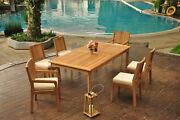 7-piece Outdoor Teak Dining Patio Set 83 Rectangle Table 6 Chair Maldives