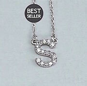 Initial Diamond Necklace Gh 14kandnbsprose White Yellow Gold Letters A To Z