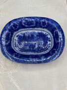 Vintage-oval Serving Bowl White And Flow Blue Oriental England