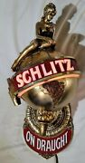 Vtg 70and039s Schlitz On Draught Beer Lighted Wall Sconce Girl On Globe Man Cave Dv