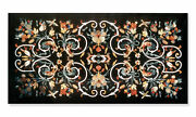 Black Marble Dining Table Pietra Dura Inlay Floral Art Home Kitchen Decors B282