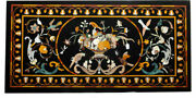 Black Marble Dining Table Top Pietra Dura Inlay Floral Arts Handmade Decors B290