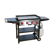 Flat Top Gas Grill 4-burner Roller Wheel Matchless Ignition Grease Pan Black