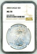 2003 1 Silver Eagle Ms70 Ngc Brown Label
