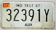 .99 Sale 1987 Indiana Truck 7 License Plate Allen County Fort Wayne No Reserve