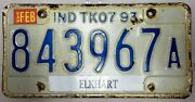 .99 Sale 1993 Indiana Truck 7 License Plate 843967a No Reserve Elkhart County