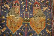 C1930s Antique Detailed Achaemenid King Face And Sign Subject Bijar Rug2and0394 X 3and0392