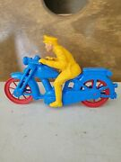 Vintage 1953-55 Plastic Toy Motorcycle With Red Wheels And Yellow Policeman Rider