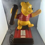 Vintage Winnie The Pooh Bear Push Button Faux Wood Home Office Telephone