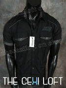 Mens Short Sleeve Shirt Black Pro Patch Casual Button Up Pockets Vertical Brand