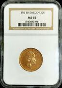 1885 Eb Gold Sweden 20 Kronor Key Date Coin Oscar Ii Ngc Mint State 65