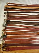 Lot Of 21 Brown Leather Western Braided Fashion Belts Vintage And Contemporary