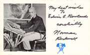 Norman Rockwell - Inscribed Post Card Signed