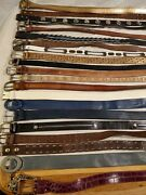 Lot Of 22 Leather Western Braided Fashion Belts Vintage And Contemporary