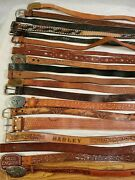 Lot Of 20 Leather Western Braided Fashion Belts Vintage And Contemporary