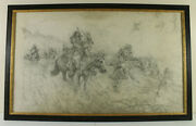 Lg 24x40 Pencil Drawing American Western Native American War Party On Horse Back