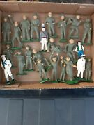 23 Vintage Toy Soldier Lot Antique Cast Iron Lead Army Used .as Is Lot