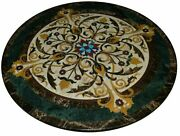 Black Marble Round Dining Table Top Marquetry Inlay Stone Art Kitchen Decor B320