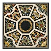 Black Square Marble Dining Table Top Scagliola Inlay Handmade Art Home Deco B321