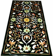 Black Marble Dining Table Top Precious Pietra Dutra Inlay Floral Art Decors B322