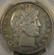 1908-o Barber Half Dollar 50c Pcgs Certified Vf35 Xf Toned With Peripheral Lust