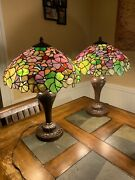 Vintage Style Stained Glass Large Table Lamps Duo, Bundle Of 2