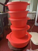 Tupperware Crystalwave 5 Piece Microwave Bowl Set W/ Lids Newandnbspred With Red Lids
