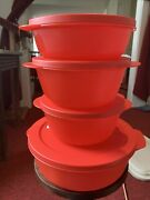 Tupperware Crystalwave 4 Piece Microwave Bowl Set W/ Lids Newandnbspred With Red Lids