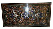 Black Marble Dining Table Top Pietra Dura Floral Inlay Art Living Room Deco B326