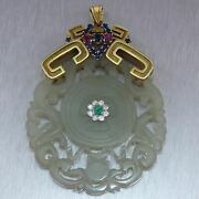 Vintage Estate 14k Yellow Gold Carved Jade Mixed Jewel Pendant