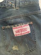 Rare Magnolia Pearl Patched Faded Distressed Ranchero Blue Denim Pants Jeans