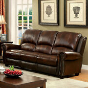 Sofa And Loveseat Transitional Brown Top Grain Leather Match Living Room 2p Set