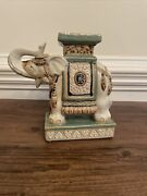 Vintage Asian Ceramic Elephant Plant Stand- 8.5 Tall