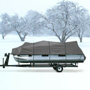 600d Waterproof Boat Pontoon Cover Fits 20and039-24and039- Includes 4 Support Poles
