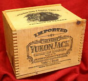 Yukon Jack Canadian Liqueur Whisky 6x6 Dovetailed Box 8 Empty Bottles Tax Stamps