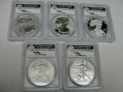 2011 Silver Eagle 5 Coin Set Pcgs First Strike Signed Mercanti Ms / Pr 69