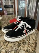 Off White Virgil Abloh Black High Top Suede Vulcanized Sneakers Size 45