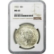 Common Date Peace Dollar Silver Ms63 Ngc