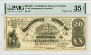 1861 Ct-18/132a 20 Confederate States Of America Upham Ctft Note - Pmg 35 Epq