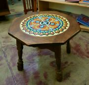 California Vintage Table With Taylor Tiles In Wood Base