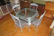 Hand Painted Metal Beveled Glass Top Table With 4 Chairs French Country 1116