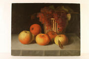 Mid 19th C American Unsigned Still Life Fruit Basket Apples Grapes Tabletop Exc