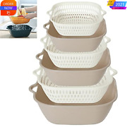 Smndy 6 Pieces Kitchen Colander Strainer Bpa Free With Handles Space- Gray White