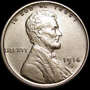 1914-s Lincoln Cent Wheat Penny Us Coin ---- Gem Bu+ Details ---- S347