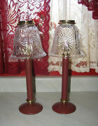 Partylite Spring Loaded Burgundy Red Candle Lamp Stratford Rare Htf 2 Lot Euc