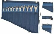Waxed Canvas Wrench/tool Roll 11 Pockets Hanging Storage For Craftsmen