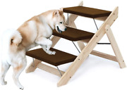 Wood Foldable Pet Stairs Steps Dog Cat Ladder Suv Sofa Beds Cars Portable Yellow