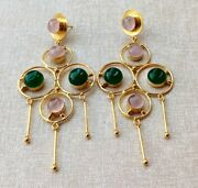 Handcrafted Gold Plated Rose Quartz Green Onyx Stone Chandelier Earring-e3-060-8
