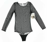 Spanx Womenand039s Sheer Mesh Thong Very Black There Light Bodysuit Size 2xl 19742