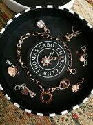 Thomas Sabo 18ct Rose Gold Plated Bracelet And 8 Rose Gold Plated Charms Rrp Andpound450+
